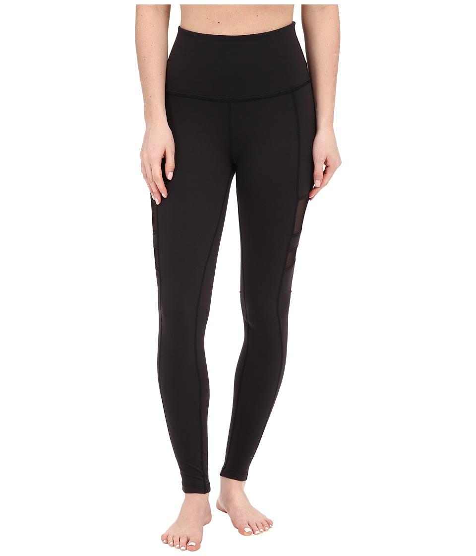 Beyond Yoga High Waist Stripe Mesh Long Leggings Black Womens Casual Pants