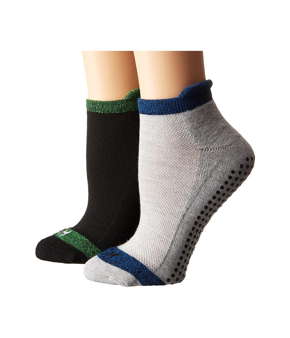 Steve Madden - 2-Pack Yoga Barre Socks with Gripper Sayings (Heather Grey/Black) Women