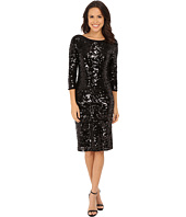 Laundry by Shelli Segal - 3/4 Sleeve All Over Sequin Mesh Dress