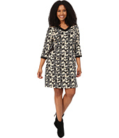 Poppy & Bloom - Plus Size Sheath Dress with Black Cut Outs in Black and White Print
