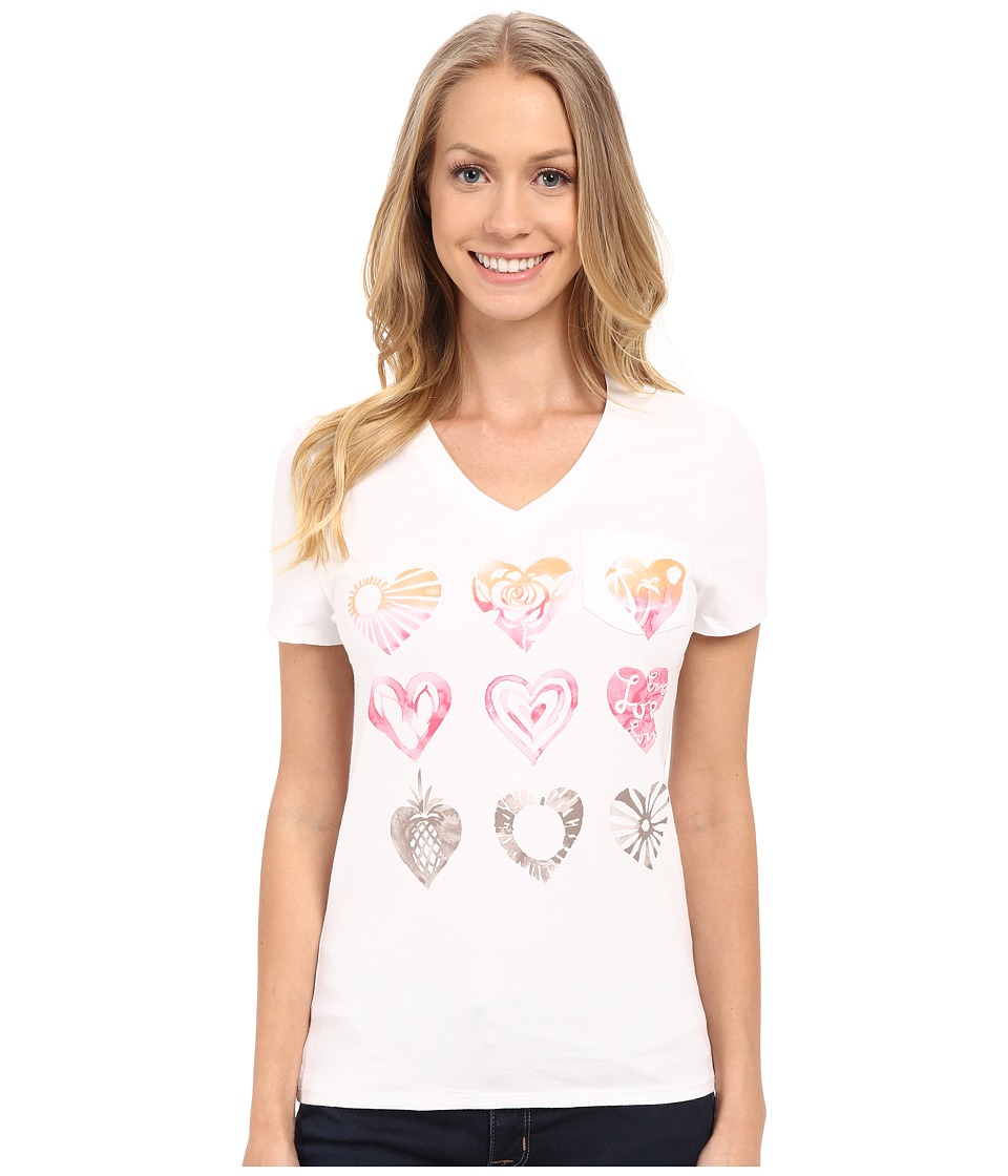 Life is good - Watercolor Heart Images Pocket Sleep Vee (Cloud White) Women