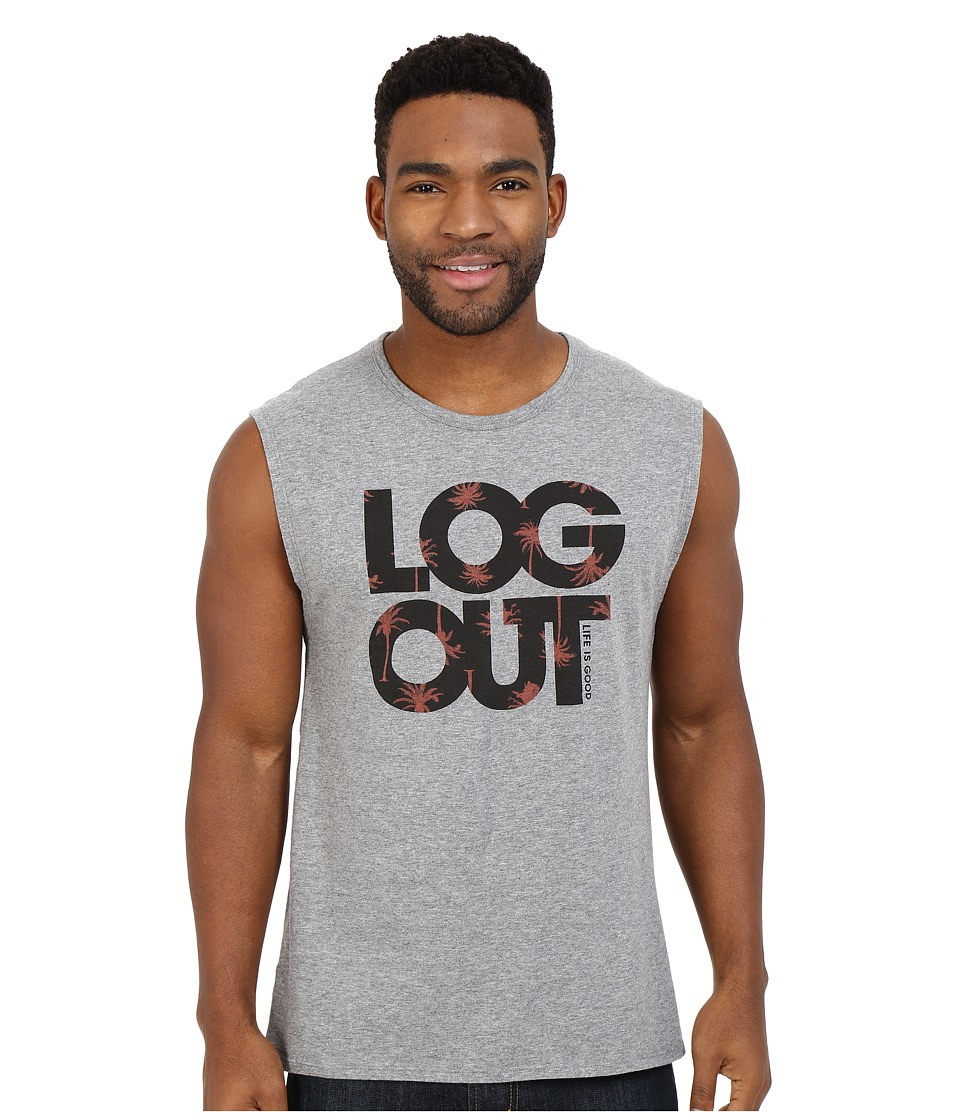 Life is good Log Out Palms Muscle Tee Heather Gray Mens Sleeveless
