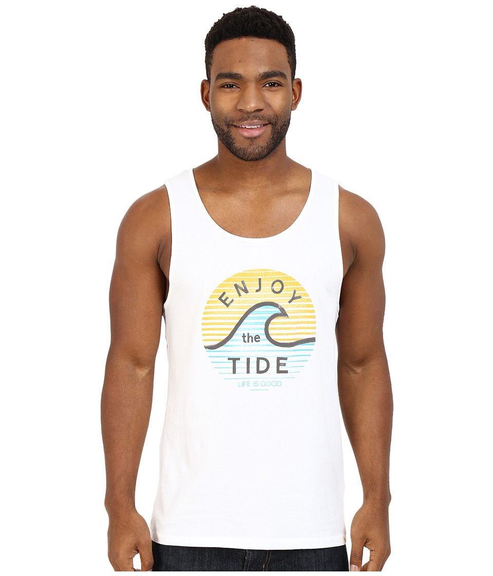Life is good Enjoy The Tide Wave Surfer Tank Cloud White Mens Sleeveless