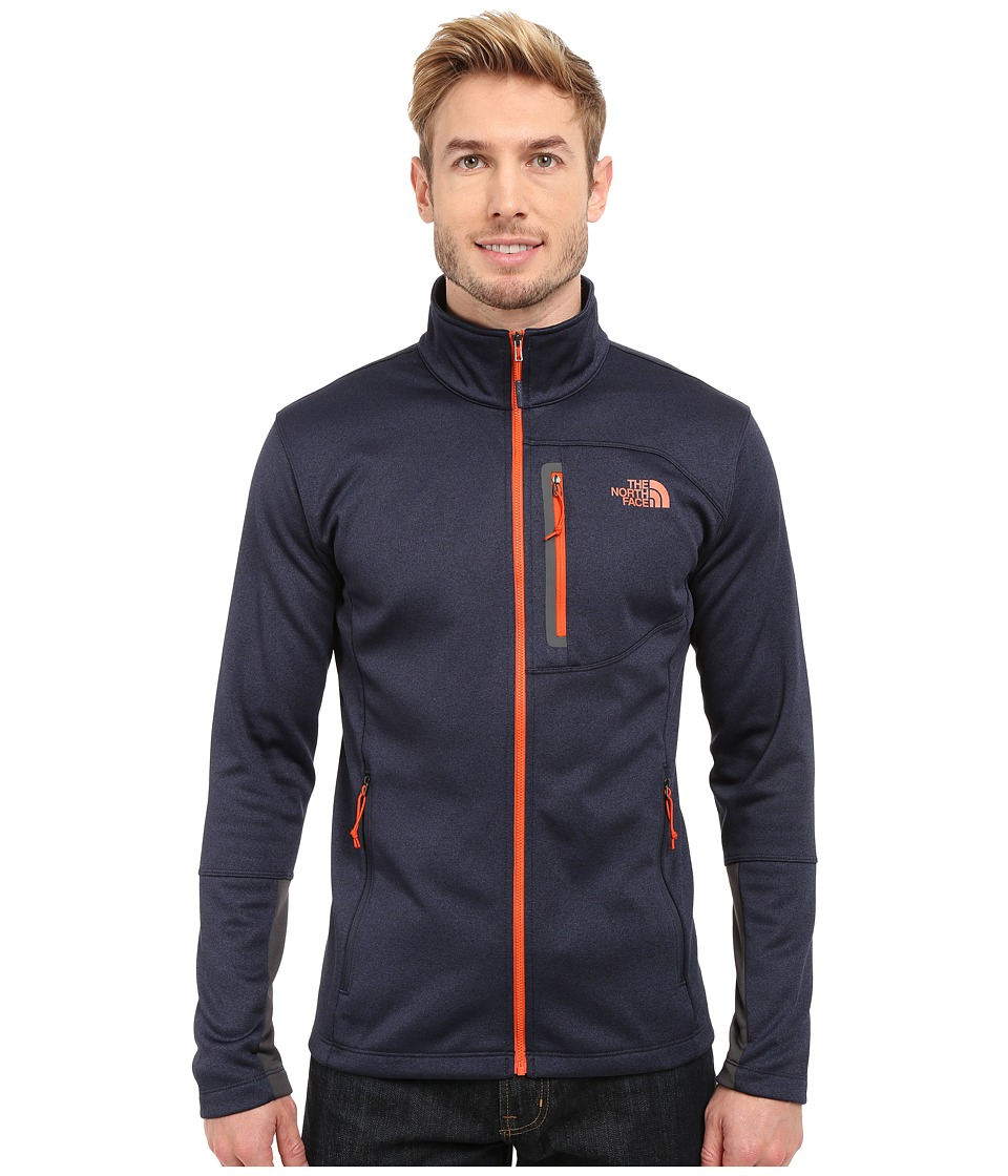 The North Face Canyonlands Full Zip Sweatshirt Cosmic Blue Heather/Papaya Orange Mens Coat