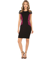 Sangria - Short Sleeve Color Block Sheath with Plaid Detail