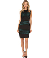 Sangria - Textured Stripe Sheath with Contrast Lining