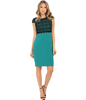 Sangria - Short Sleeve Textured Knit & Lace Sheath