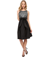 Sangria - Empire Lace Bodice Fit & Flare with Self Tie Bow Belt