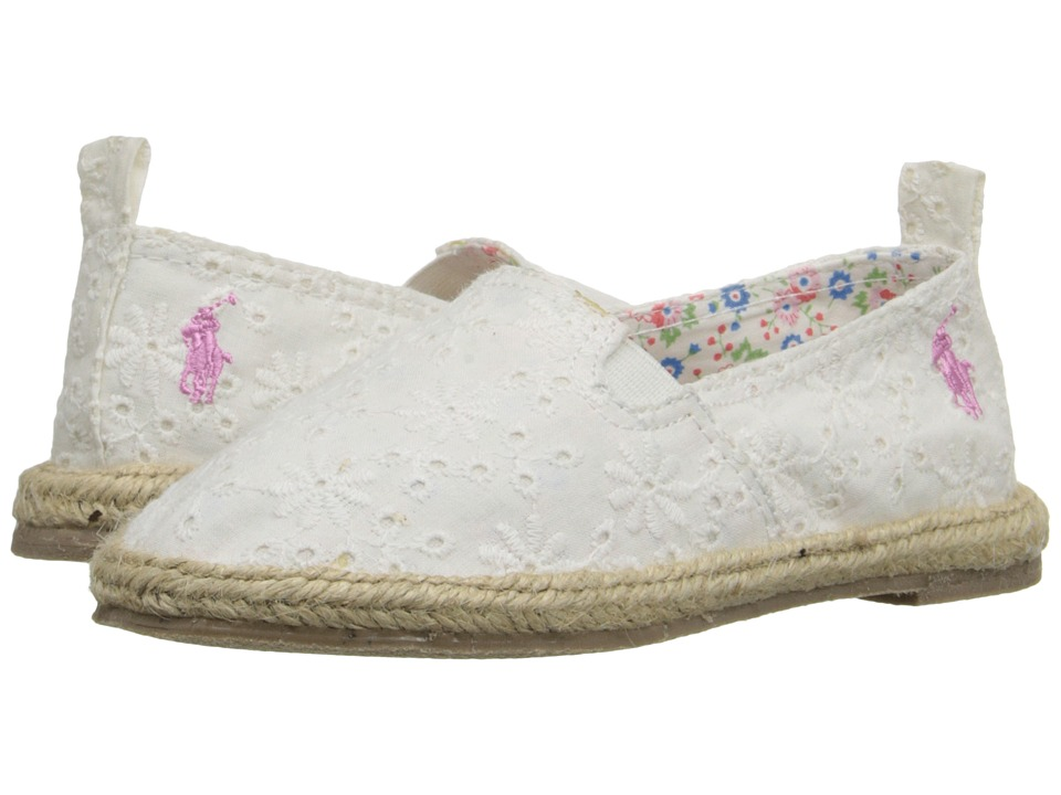 Polo Ralph Lauren Kids Beakon Toddler White Eyelet Girls Shoes