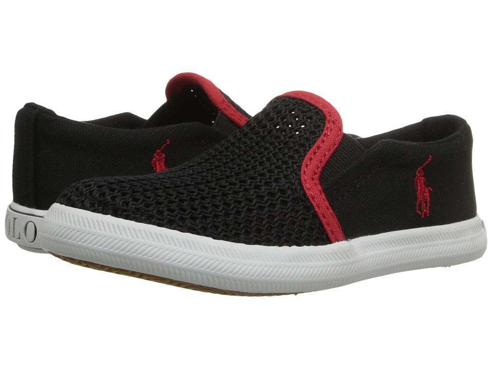 Polo Ralph Lauren Kids Benton Toddler Black Canvas/Mesh/Red Girls Shoes