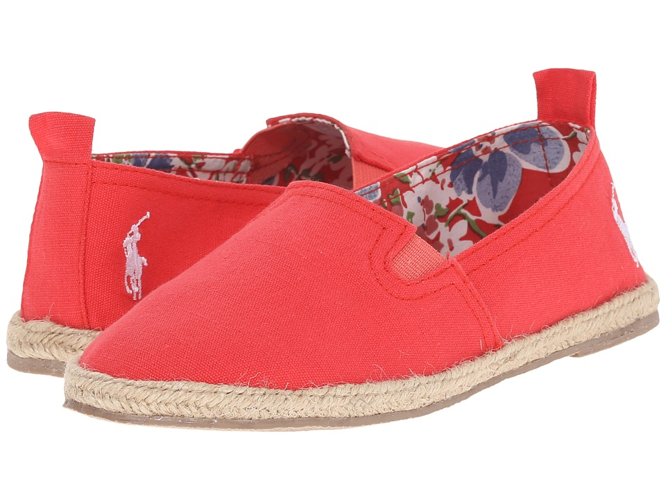 Polo Ralph Lauren Kids Beakon Little Kid Red Canvas Girls Shoes