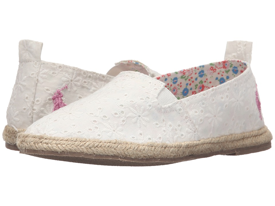 Polo Ralph Lauren Kids Beakon Little Kid White Eyelet Girls Shoes