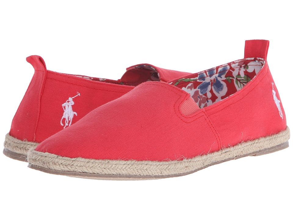 Polo Ralph Lauren Kids Beakon Big Kid Red Canvas Girls Shoes