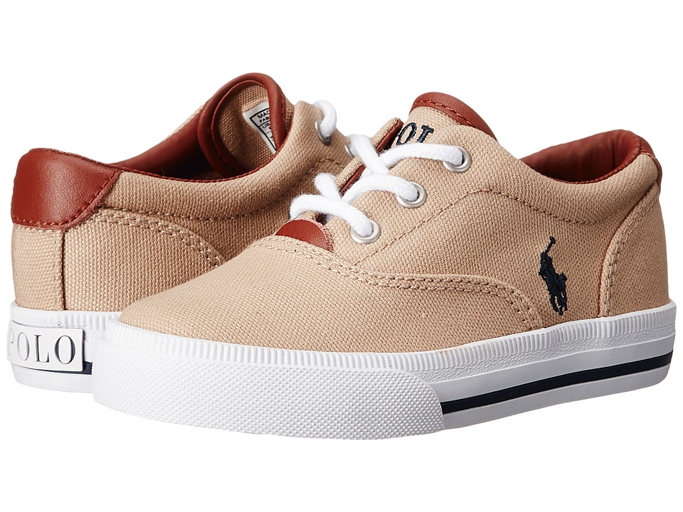 Polo Ralph Lauren Kids - Vaughn II (Toddler) (Khaki Canvas/Navy) Boys Shoes