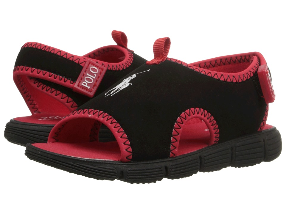 Polo Ralph Lauren Kids Wavecroft II Toddler Black Stretch PU/Red Boys Shoes