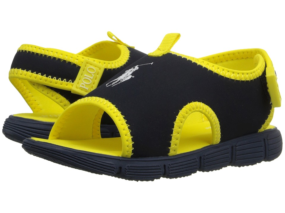 Polo Ralph Lauren Kids Wavecroft II Toddler Navy Stretch PU/Yellow Boys Shoes