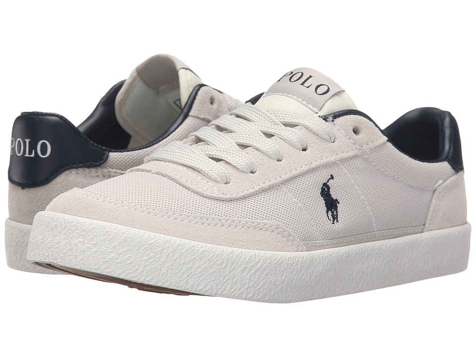 Polo Ralph Lauren Kids Kamaal Little Kid/Big Kid Off White Mesh/Off White Suede Boys Shoes