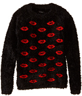 IKKS - Eyelash Faux Fur Pullover Sweater with Red Lips (Little Kids/Big Kids)