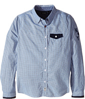 IKKS - Pinstripe Button Up Shirt with Contrast Trim (Little Kids/Big Kids)