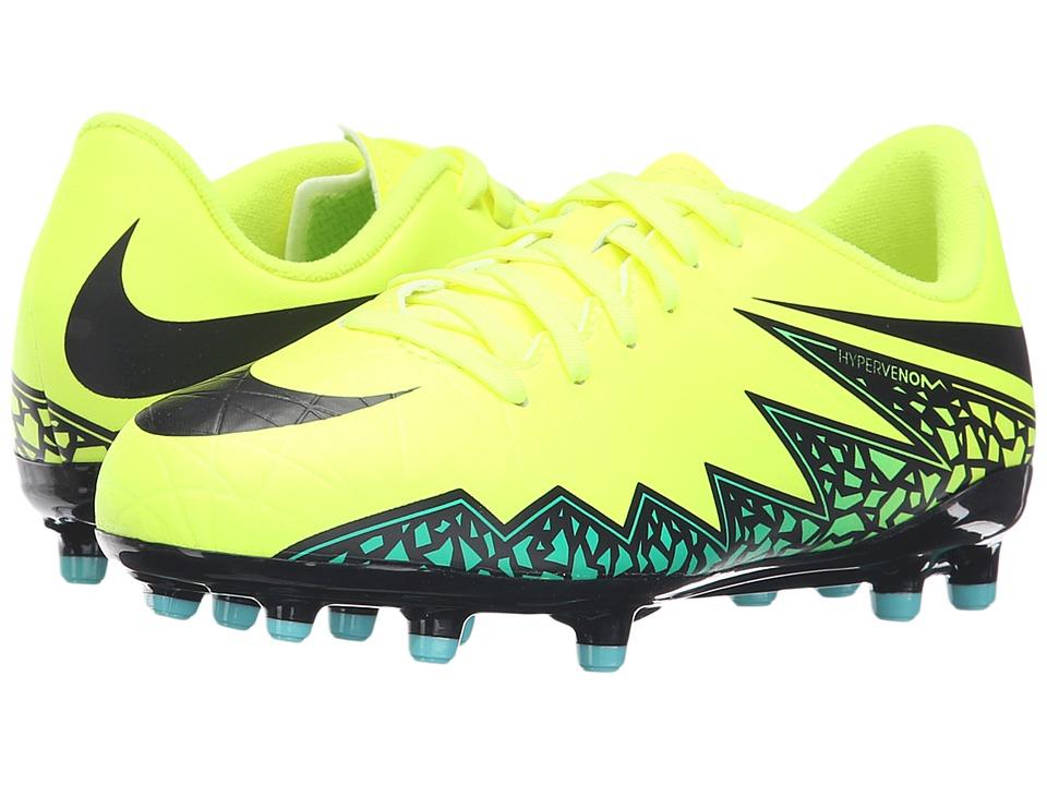 Nike Kids - Jr Hypervenom Phelon II FG Soccer (Toddler/Little Kid/Big Kid) (Volt/Hyper Turquoise/Clear Jade/Black) Kids Shoes