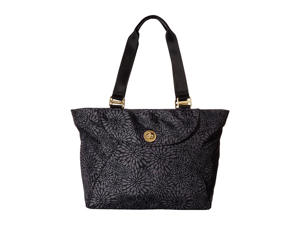 Baggallini Gold Alberta Tote Pewter Floral Tote Handbags
