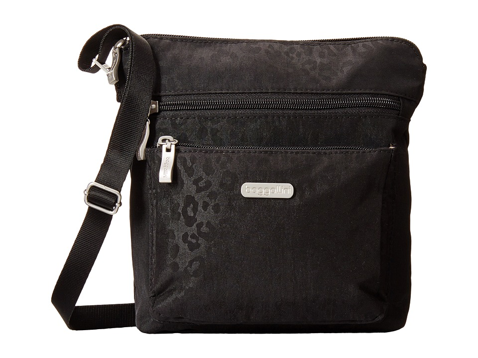 Baggallini - Pocket Crossbody (Black Cheetah Emboss) Cross Body Handbags
