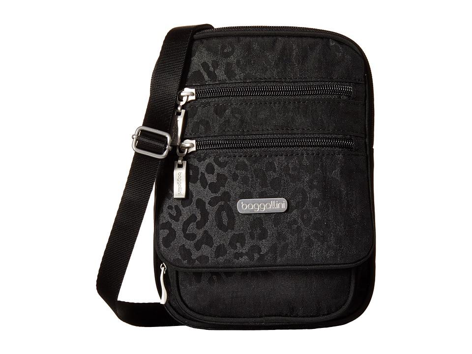 Baggallini Journey Crossbody Black Cheetah Emboss Cross Body Handbags