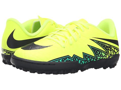 Nike Kids Jr Hypervenom Phelon II TF Soccer (Toddler/Little Kid/Big Kid) - Volt/Hyper Turquoise/Clear Jade/Black