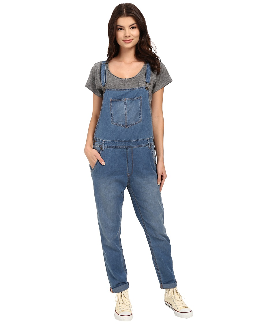 Roxy Sea Foam Denim Overalls Medium Blue Wash Womens Overalls One Piece