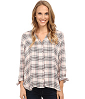 Bobeau - Plaid Blouse w/ Tie Sleeve