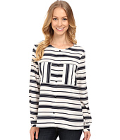 B Collection by Bobeau - Stripe Blouse w/ Pockets