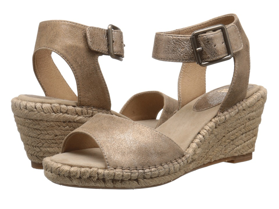 Johnston amp Murphy Angela Ankle Strap Gold Italian Soft Metallic Suede Womens Sandals