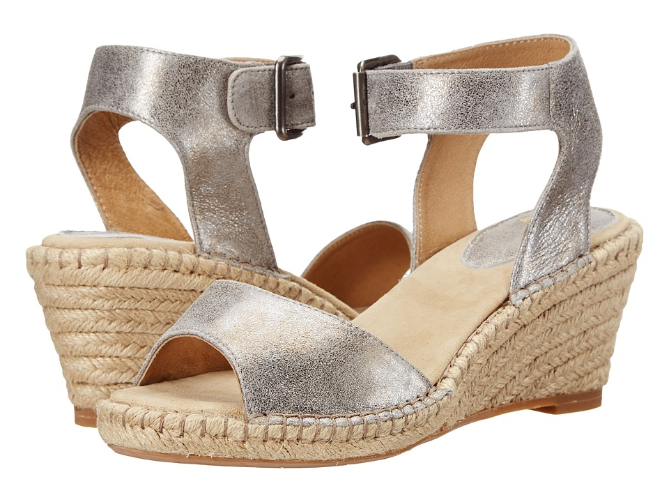 Johnston amp Murphy Angela Ankle Strap Silver Italian Soft Metallic Suede Womens Sandals