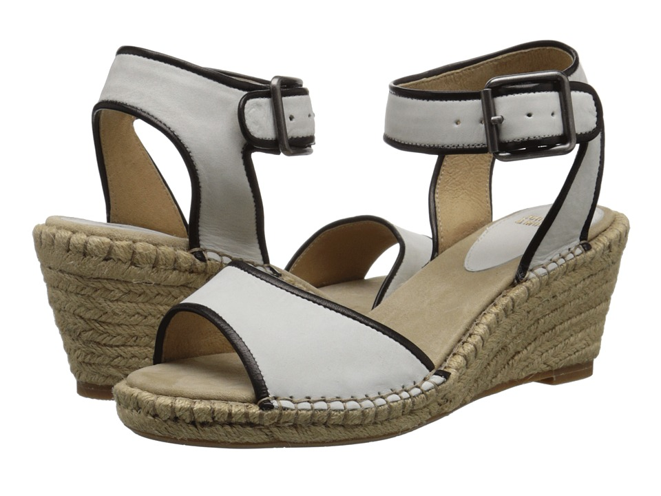 Johnston amp Murphy Angela Ankle Strap White Nubuck/Black Italian Soft Calfskin Womens Sandals
