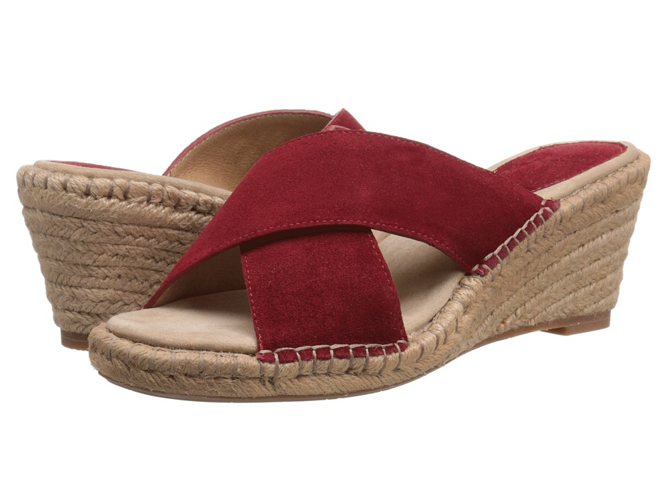 Johnston amp Murphy Arlene Cross Band Cherry Red Suede Womens Sandals