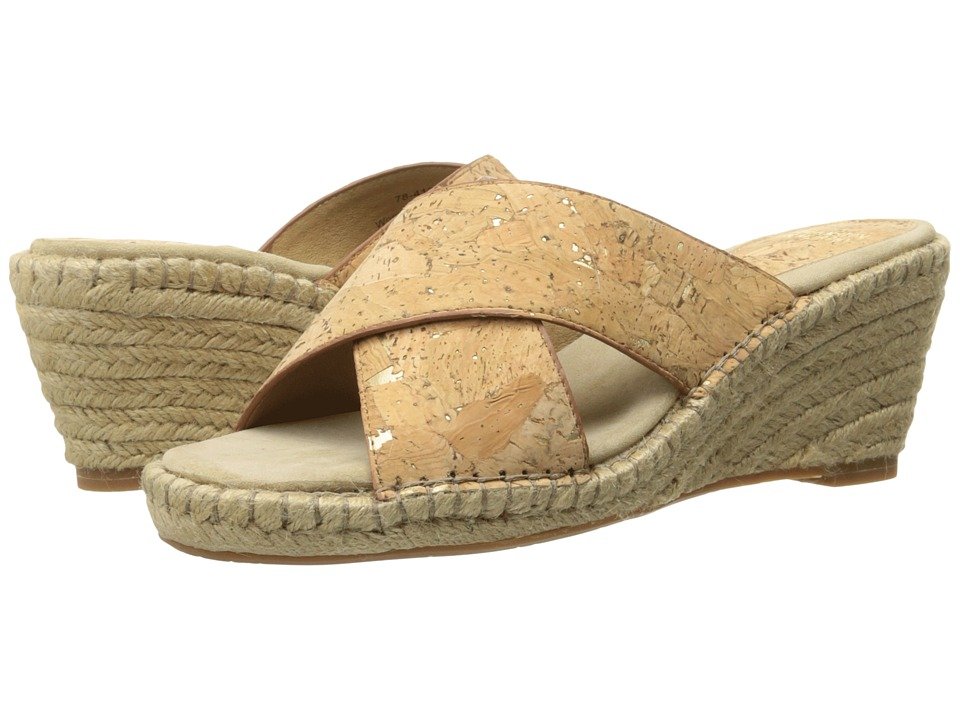 Johnston amp Murphy Arlene Cross Band Natural Metallic Cork Womens Sandals