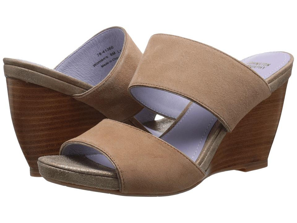 Johnston amp Murphy Nisha Slide Latte Kid Suede/Gold Italian Soft Metallic Suede Womens Wedge Shoes
