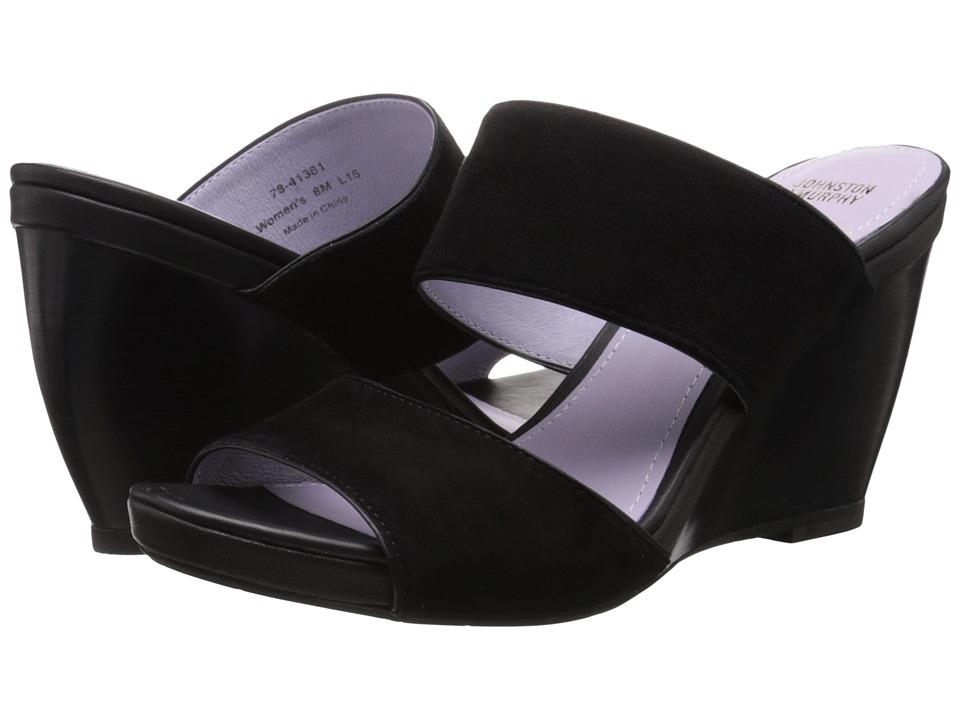 Johnston amp Murphy Nisha Slide Black Kid Suede/Black Nappa Womens Wedge Shoes