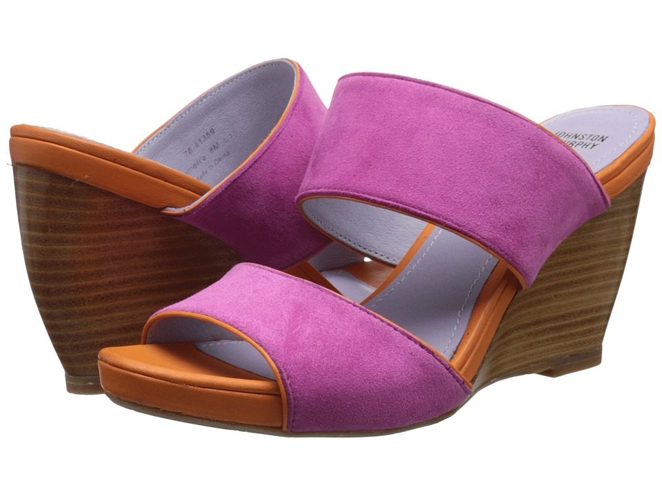 Johnston amp Murphy Nisha Slide Azalea Kid Suede/Orange Nappa Womens Wedge Shoes