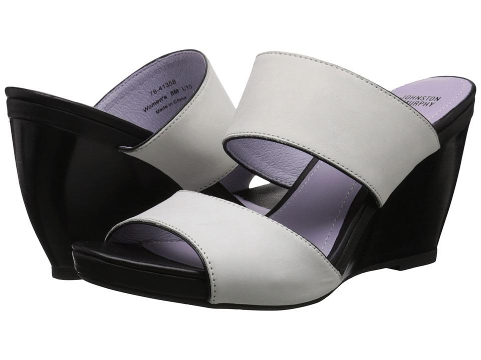Johnston amp Murphy Nisha Slide Off White Nubuck/Black Nappa Womens Wedge Shoes