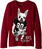 IKKS - Long Sleeve Tee with Cool Dog Graphic (Little Kids/Big Kids)