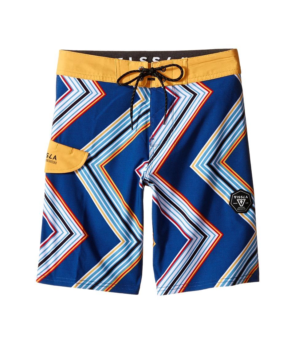 VISSLA Kids Raised By Waves 4 Way Stretch Boardshorts 17 Big Kids Royal Boys Swimwear