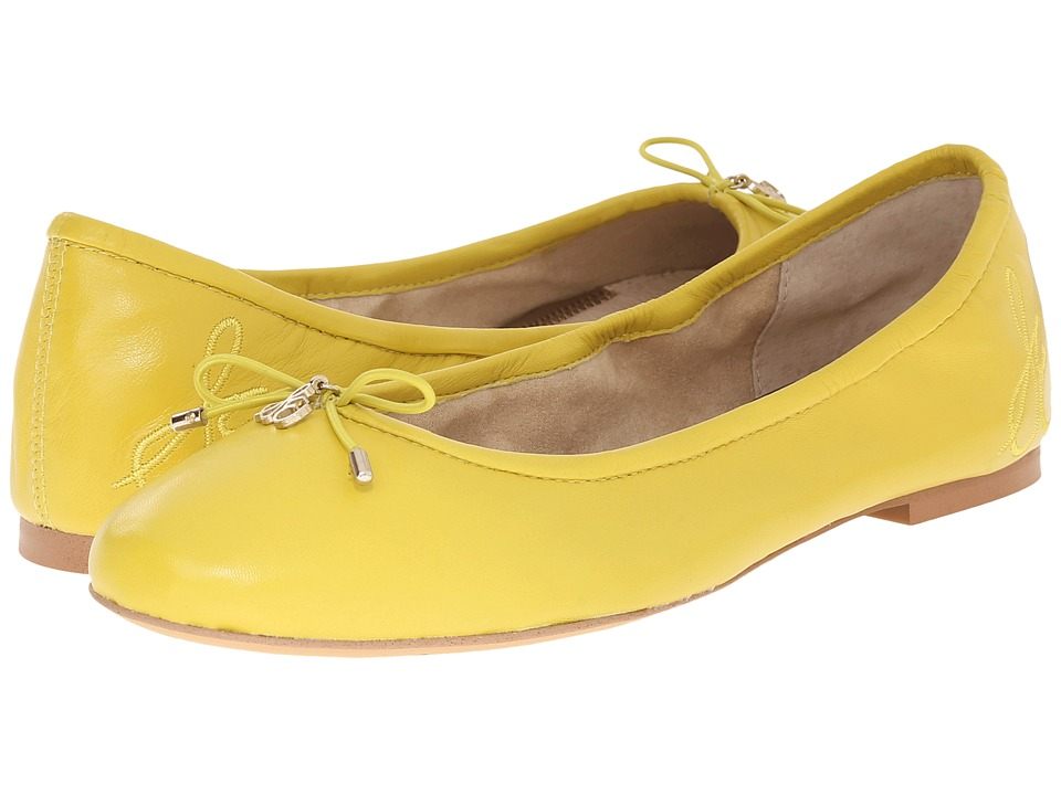 Sam Edelman Felicia Chartreuse Glow Nappa Luva Leather Womens Flat Shoes