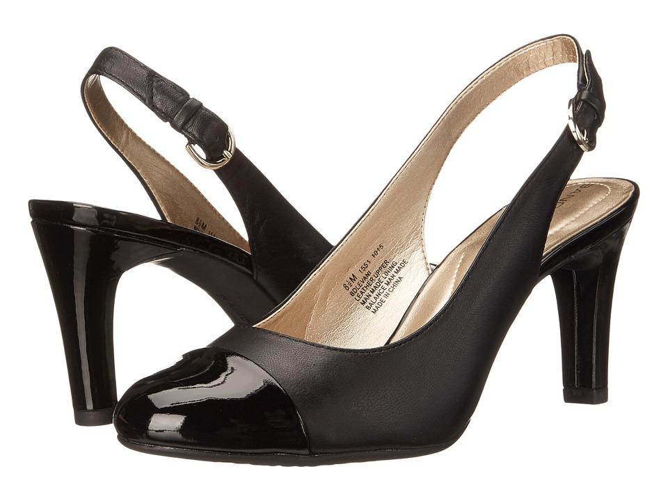 Bandolino Levani Black/Black Leather Womens Shoes