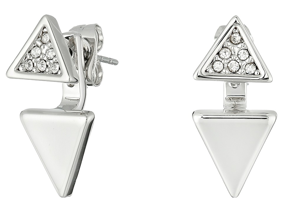 Rebecca Minkoff - Double Triangle Front to Back Earrings (Imitation Rhodium/Crystal) Earring