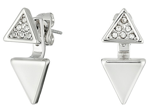 Rebecca Minkoff Double Triangle Front to Back Earrings - Imitation Rhodium/Crystal