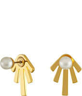 Rebecca Minkoff - Pearl/Bar Front to Back Earrings