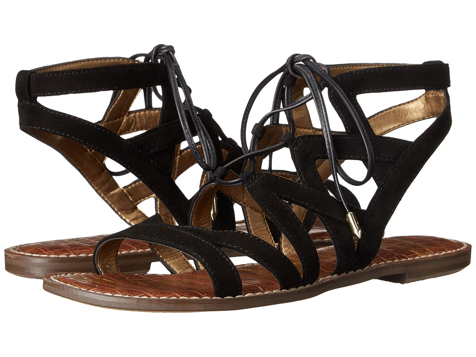 Sam Edelman Gemma Black Kid Suede Leather Womens Sandals