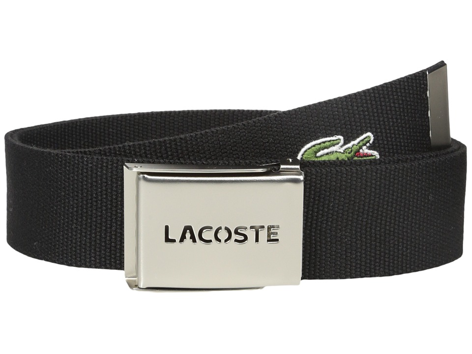 Lacoste - 40mm Woven Strap Belt (Black) Mens Belts