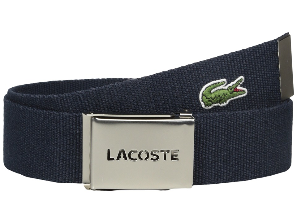 Lacoste 40mm Gift Box Woven Strap Navy Mens Belts